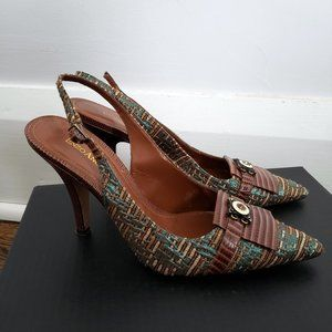 2/$60 Enzo Angiolini Brown and Teal Kitten Heels
